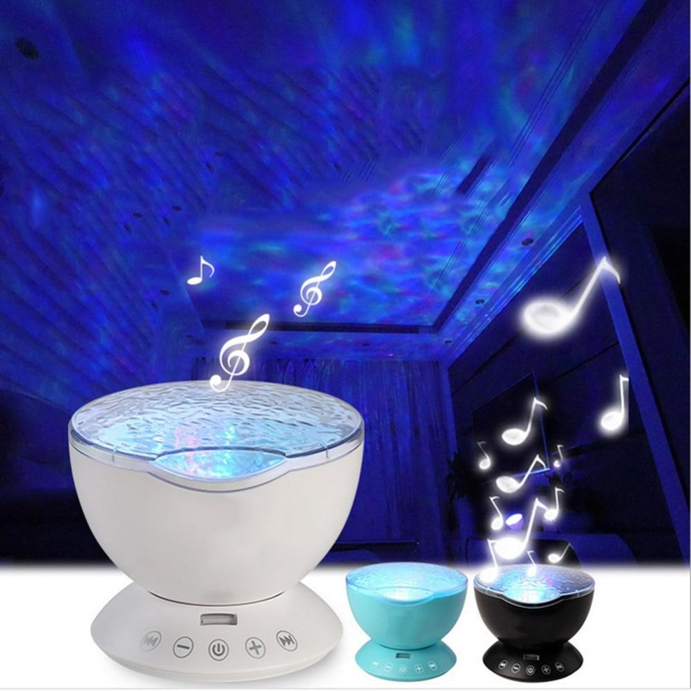 Ocean Wave Starry Sky Projector Aurora LED Night Light USB Luminaria Music Player Lamp For Baby Children Kid Sleep Nightlight