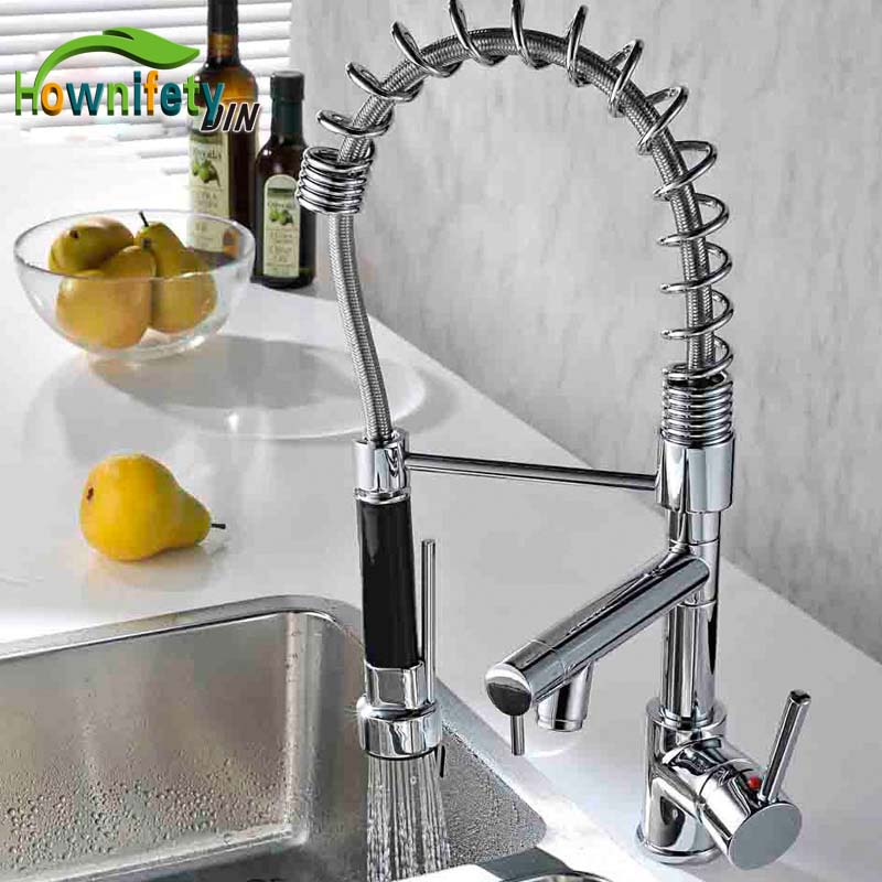 Modern New Deck Mounted Spring Polished Chrome Brass Kitchen Faucet Single Handle Sink Mixer Tap