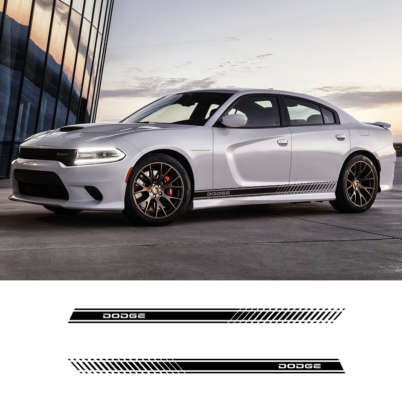 2 PCS Car Styling Side Skirt Stripes Vehicle Waist Line Sticker Decals For Dodge Challenger Durango SRT Viper Charger Journey