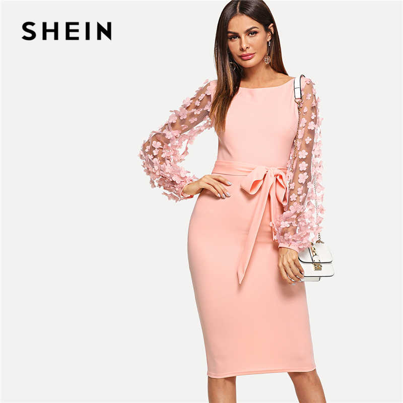 ac99a57b56 SHEIN Pink Elegant Party Flower Applique Contrast Mesh Sleeve Form Fitting  Belted Solid Dress 2018 Autumn