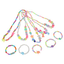 Kids Girls Cute Candy Color Necklace Bracelet Jewelry Set Beads Petals Acrylic Children Christmas Gift Party Cosplay Accessories(China)