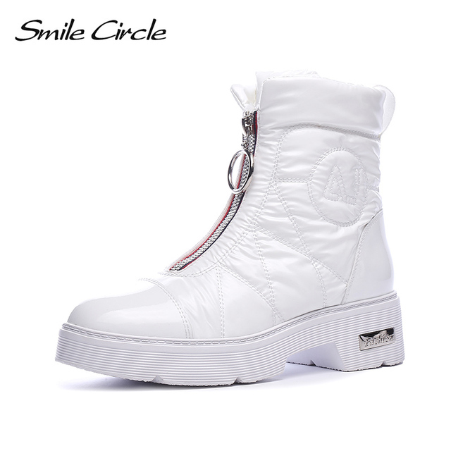 2019 Winter boots Women Snow Boots Warm down shoes easy wear girl white Black zip Flat platform shoes Chunky Boots Smile Circle
