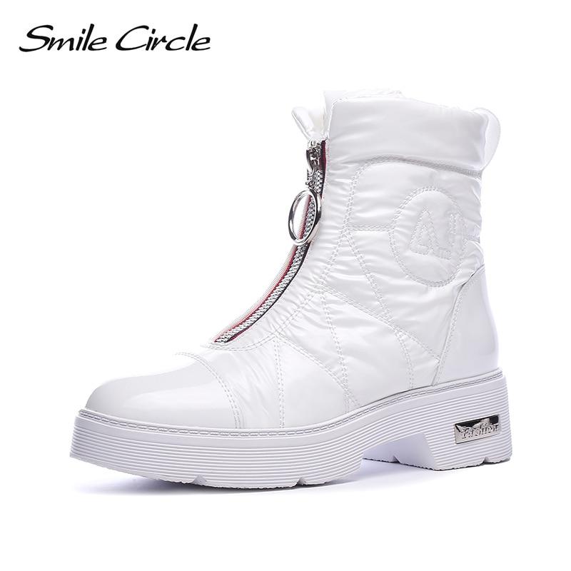2019 bottes d'hiver femmes bottes de neige chaud vers le bas chaussures facile à porter fille blanc noir zip plat plate forme chaussures Chunky bottes sourire cercle-in Bottines from Chaussures    1