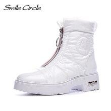 Botas de invierno 2019, botas de nieve para mujer, calzado aislante cálido, fácil de usar, zapatos de plataforma plana con cremallera blanca y negra, botas gruesas Smile Circle