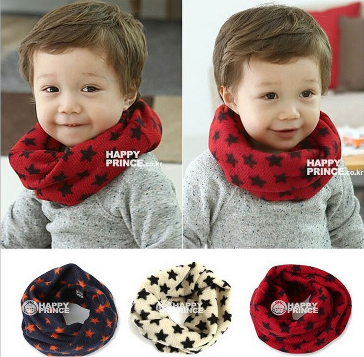 Kids Boys Girls Baby Five-pointed Star Snood Unisex Knitting Warm Scarves Small