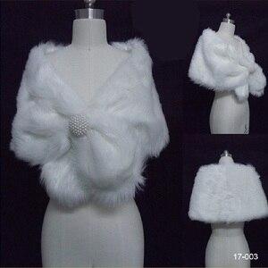 Image 3 - Chaqueta de boda para mujer, chal y chales nupciales, capa de pelo bolero de piel sintética con perlas 2020, accesorios de boda 17003