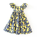 Cereza amarilla embroma la ropa Flutter manga sweet baby girls sin espalda halter muchachas del verano se visten de niño de cumpleaños niñas traje