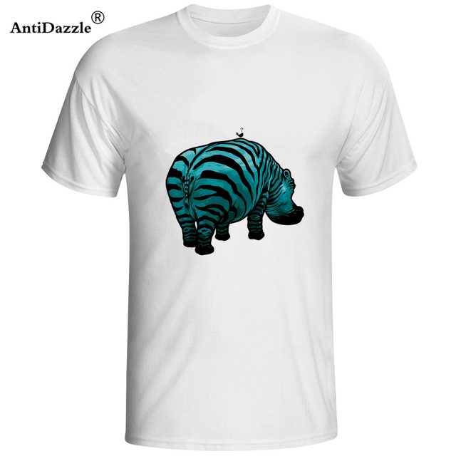 0ea390ba0 Antidazzle 2017 Fashion africa t shirt Animal Design Hipster Men's Short  Sleeve T-shirt Printed Casual Cartoon Tees Hippo zebra