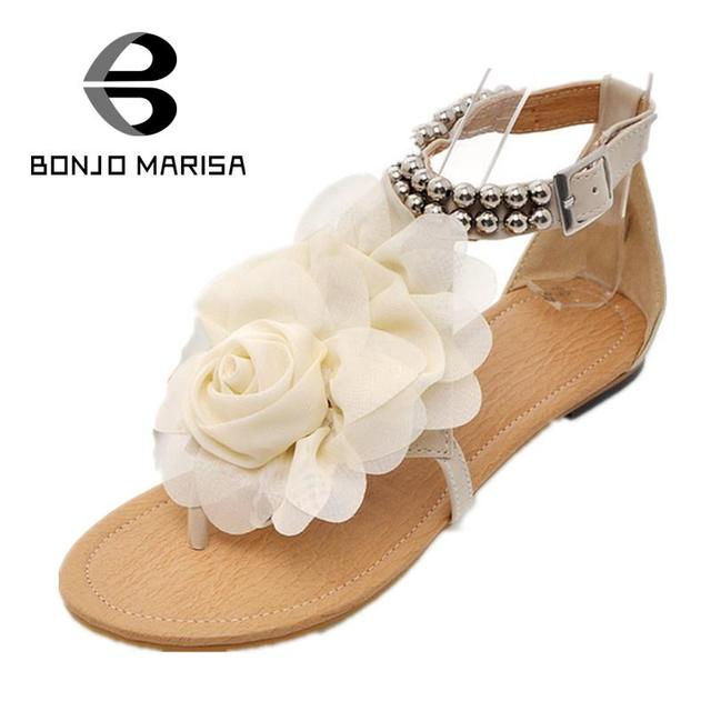 BONJOMARISA Big size 34-43 New Gladiator Sandals Women Bohemia Beaded Summer Flower Flip Flops Women's Shoes T straps Sandals