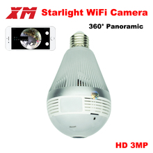 Panoramin Smart Home Safty Wifi 360 3 0MP VR Camera LED Bulb Security Camcorder Motion Detection