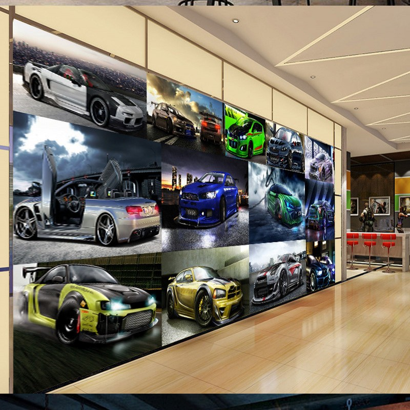 Free shipping custom 3D wallpaper Cool Sports Car Luxury Car Club Clubhouse modern Wall Background photo wallpaper 3d 10 20feet 300 600cm photography background boats dock house wallpaper free shipping