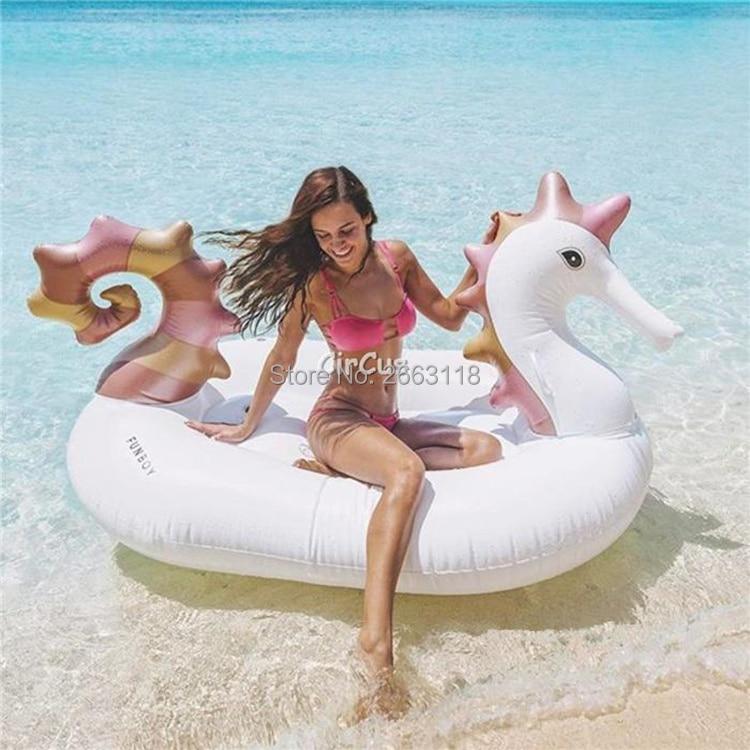 Gaint 220*145*115cm Inflatable Sea Horse Pool Float Unicorn Mattress Sunbathe Mat Pegasus
