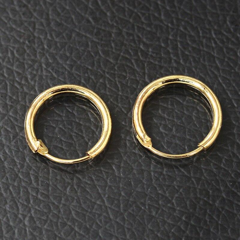 Gold Color Silver Hoop Earrings Small Huggie Round Circle Loop ...