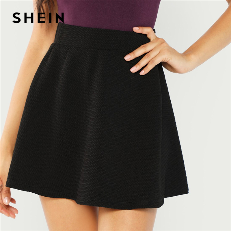 SHEIN Black Elastic Waist Textured Skirt Preppy Plain Fit and Flare A Line Skirts Women Autumn High Waist Short Minimalist Skirt