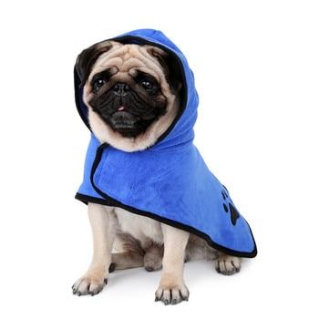 Photo : petit peignoir bleu de boxer pour chien