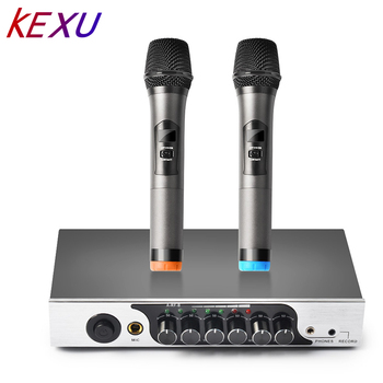 KEXU UHF Dual Channel Wireless Handheld Microphone, Easy-to-use Karaoke Wireless Microphone System for Family Party,Church