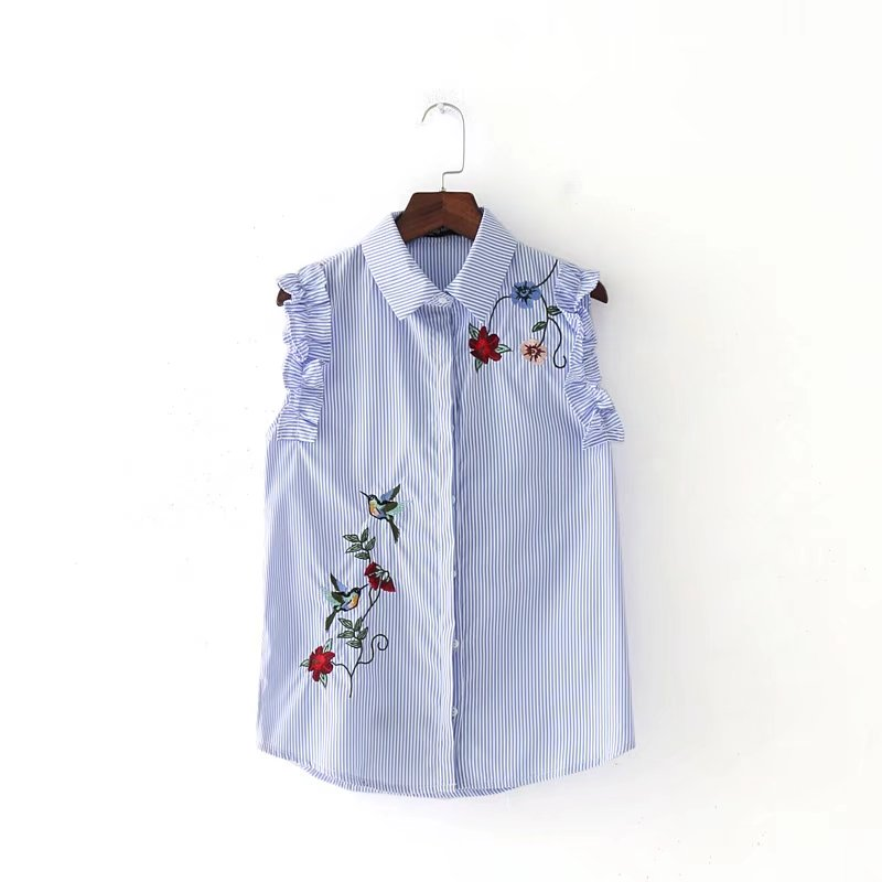 2017 Frauen Mode Vintage Vestidos ärmelloses Stickerei Pilz Gestreiften Blusen Hemd Marke Femininas Blusas Schlank Tops Ls1301