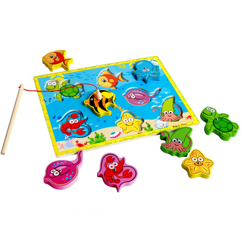 Toys & Hobbies Learning & Education Rrandom Wooden Fishing Educational Toys For Children Biology Ocean Animals Magnets Puzzles Board Funny Teaching Aids Kids Toy Removing Obstruction