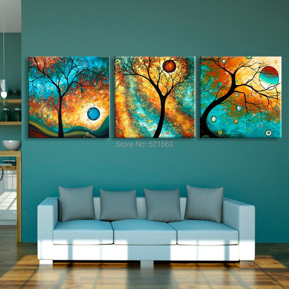 E-HOME Stretched LED Canvas Print Green Tree Flash Effect LED Flashing Optical Fiber Print Set of 3