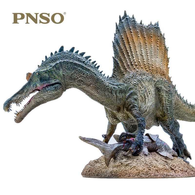 1:35 PNSO espinhoso dragão Spinosaurus Dinossauro Brinquedos Clássicos Para Meninos Antiga Plataforma de pesca Com Pedestal Modelo Animal Boneca