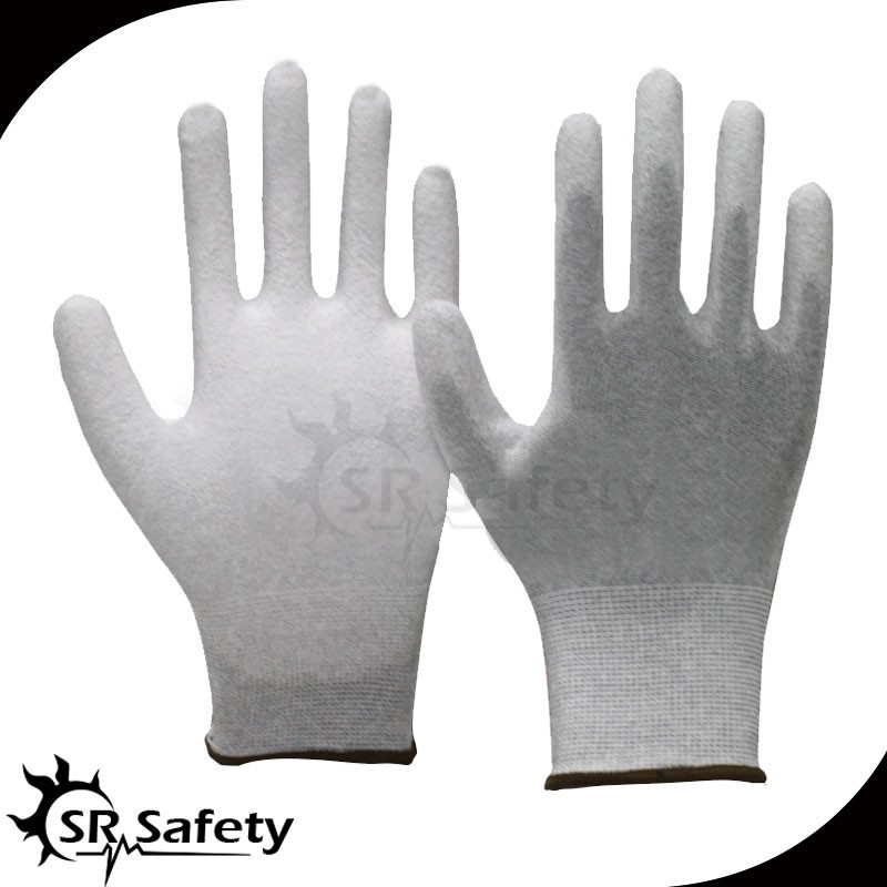 SRSAFETY 2 Pairs ESD Glove,Nylon-Carbon knitted Liner Coated White PU On Plam AntiStatic Working Gloves