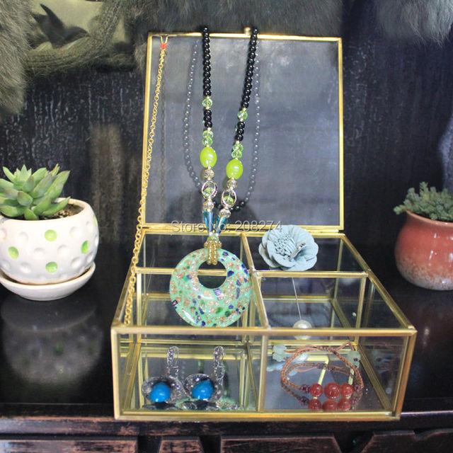 Медь квадратной формы стеклянная шкатулка сухие цветы Геометрические Террариум День святого валентина подарок косметика коробка модель украшение помещения