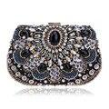 2016 Hot Crystal Evening Bag Women Noble Diamond Wedding Mini Clutch Purse Lady Party Beaded Bag Black  Evening Clutch Handbag