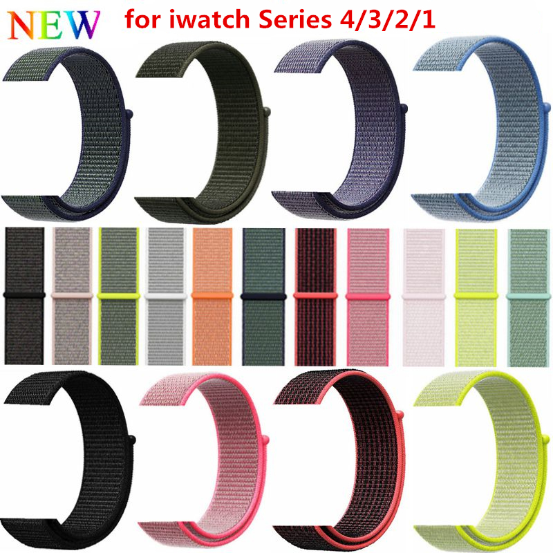 Sports Nylon Strap for Apple Watch Band 40mm 44mm Colorful Nylon Loop Clasp Woven Wrist Braclet Belt for iwatch Series 4/3/2/1 цена