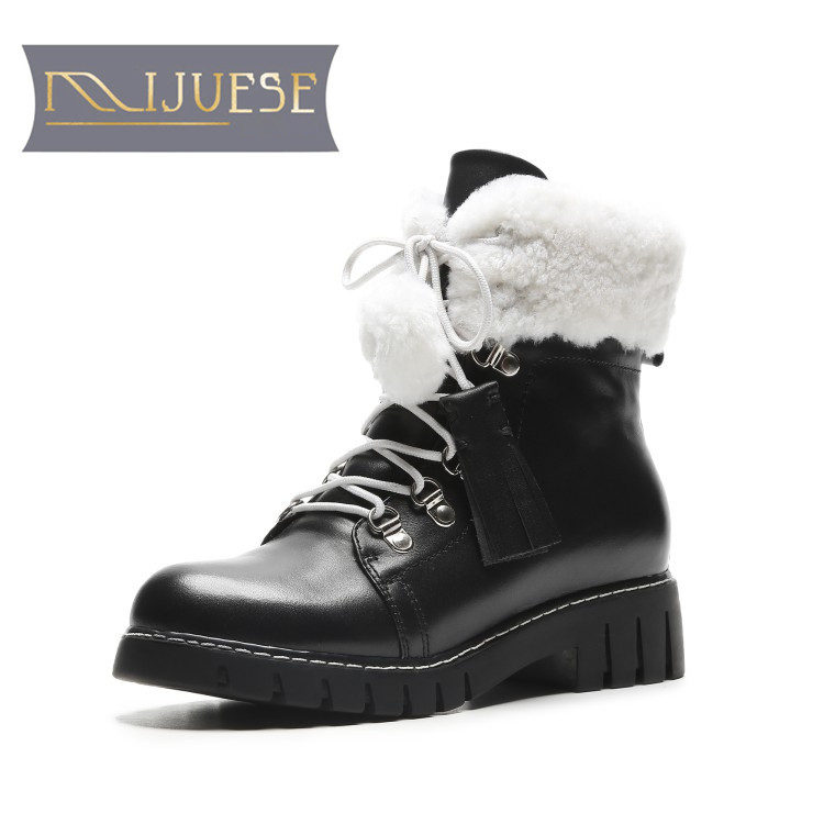 MLJUESE 2019 women ankle boots cow leather lace up white color winter wool blend low heel boots women martin boots party size 40 lapel flap pocket color block wool blend blazer