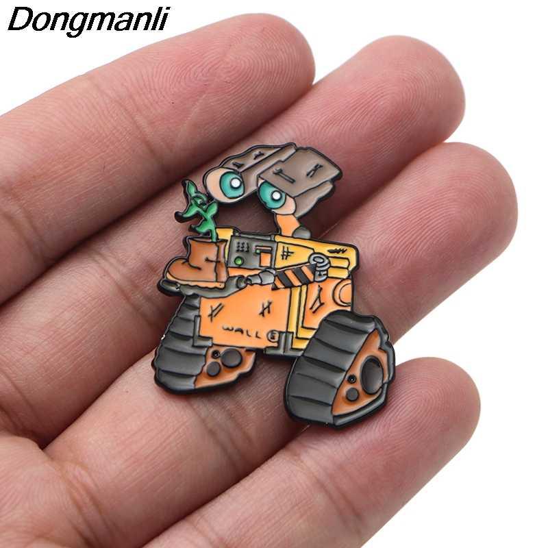 P3701 Dongmanli Divertente Robot del Metallo Dello Smalto Pins e Spille per Pin del Risvolto Borse Zaino Distintivo Cute Regali Dei Monili Del Collare