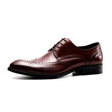 QYFCIOUFU New Genuine Cow Leather Carving Brogue Shoes Men For Wedding Fashion Dress Shoes Oxfords Four Colors Vintage Shoes