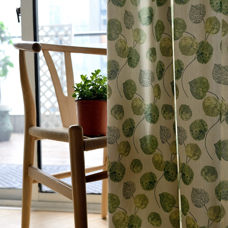 QANHU Brown Leaf Pattern Blackout Curtains For Bedroom Polyester/Cotton Comfortable Curtains Set For The Living Room A-11