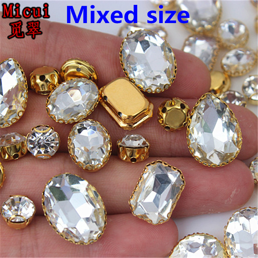 Detail Feedback Questions about Micui 30PCS Glass Sew On Rhinestones ... 63cf7d666768