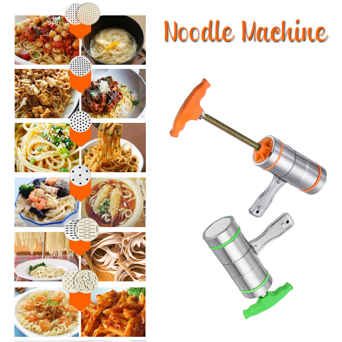 7 Mode Card Stainless Steel Manual Noodle Pasta Maker Press Spaghetti     I
