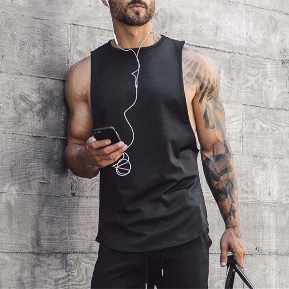 feitong Men   Tank     Top   Gym Clothing Bodybuilding Men's Gyms Bodybuilding Fitness Muscle Sleeveless Singlet Vest canotte uomo