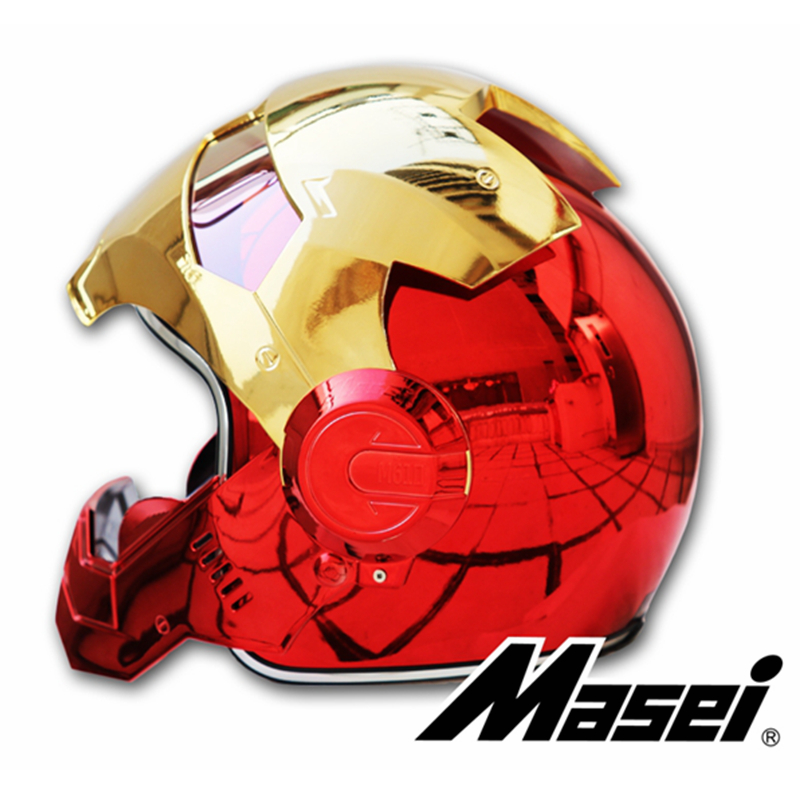 MASEI 610 placage Chrome galvanoplastie or rouge IRONMAN fer homme casque moto casque demi face ouverte casque ABS motocross - 3