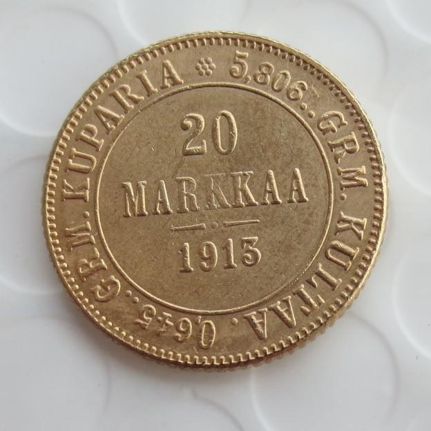 1913 S GOLD FINLAND IMPERIAL OROSZORSZÁG 20 MARKKAA COIN
