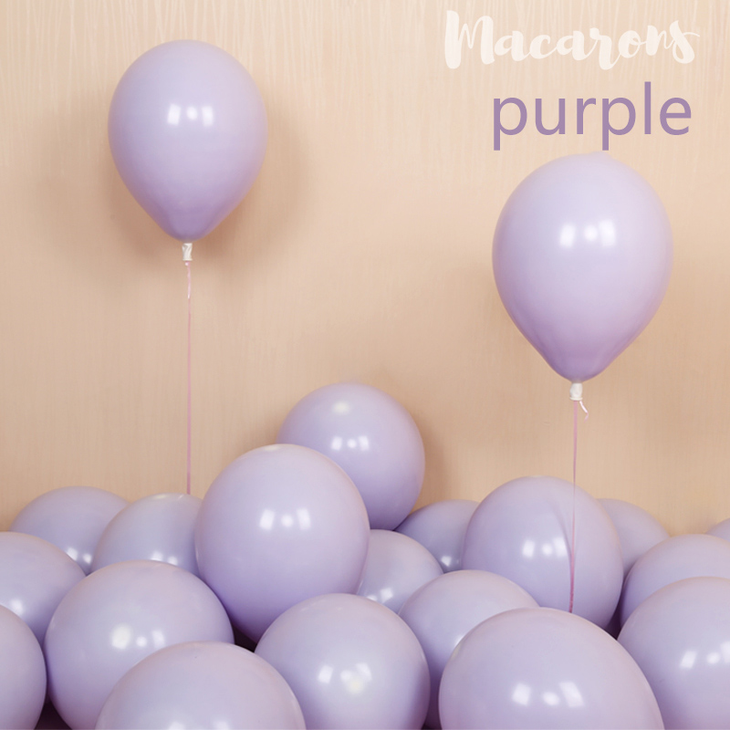 100pcs 10inch Latex Macaroon Balloon Baby Birthday Wedding Balloons Valentine's Day Party Decoration Air Ball Arch baloons Decor-purple