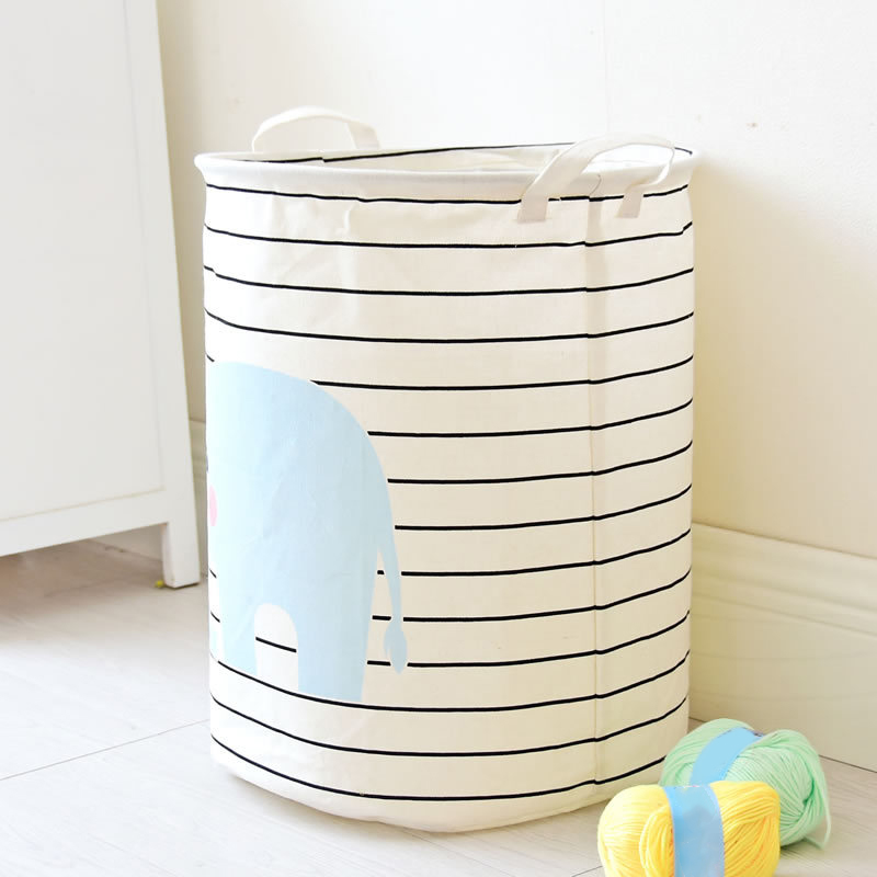 Hot Laundry Basket Elephant Pattern Striped Laundry Hamper Storage Basket Home Decor  FQ-ing