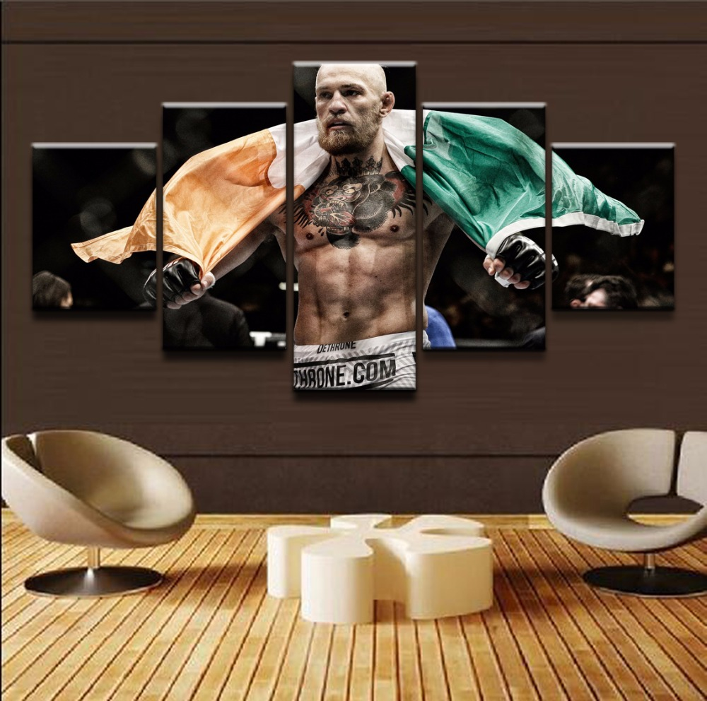 Home Decorative Framework Canvas Painting For Living Room 5 Panels Boxing Sports Canvas Art Printed On Wall Modular Picture