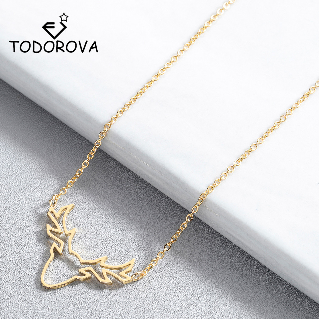 Todorova Unique Deer Charm Necklaces for Women Boho Antler Horn Animal Chain Christmas Jewelry Everyday Gifts