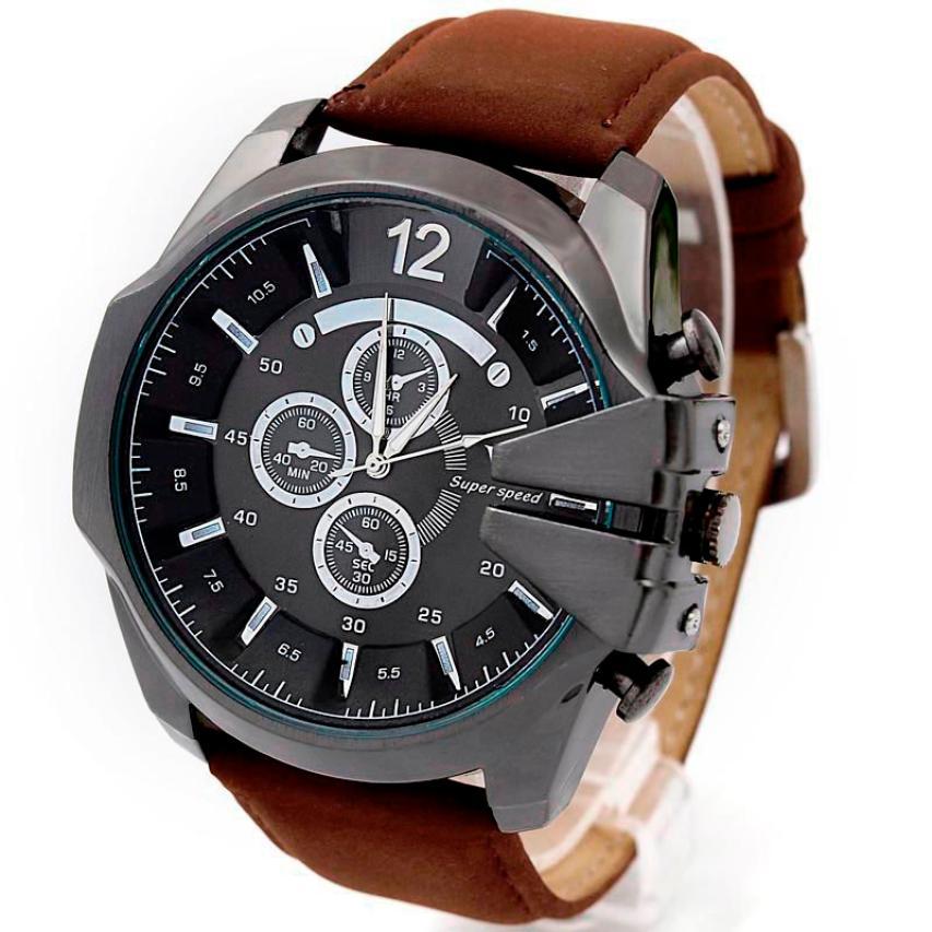 2018 fashion Luxury Men Watch Analog Sport Steel Case Quartz Dial Leather Wrist Watch for men gifts