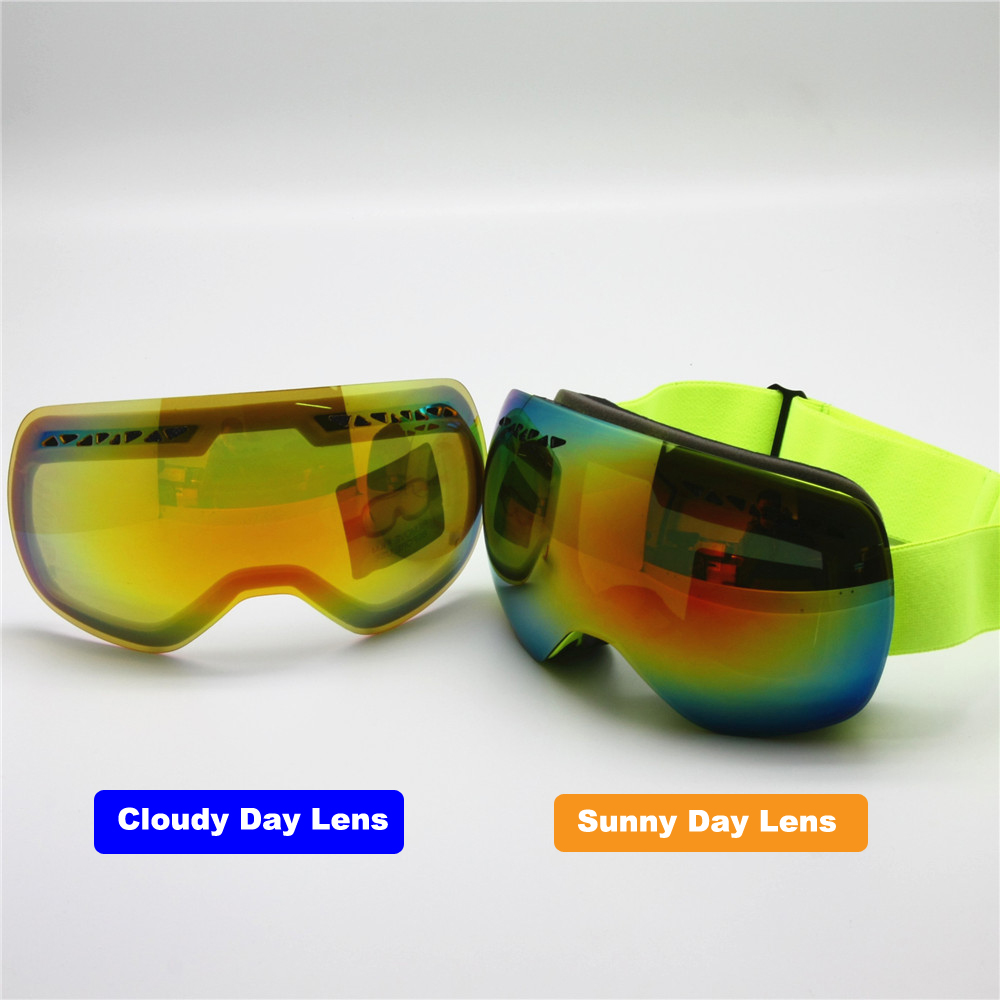 Ski Goggles with Sunny and Cloudy Day Lens Switchable, Men Women Big - Skiing and Snowboarding
