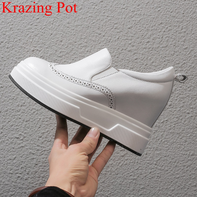 superstar genuine leather round toe increasing platform slip on loafers concise white sneakers casual women vulcanized shoes L11
