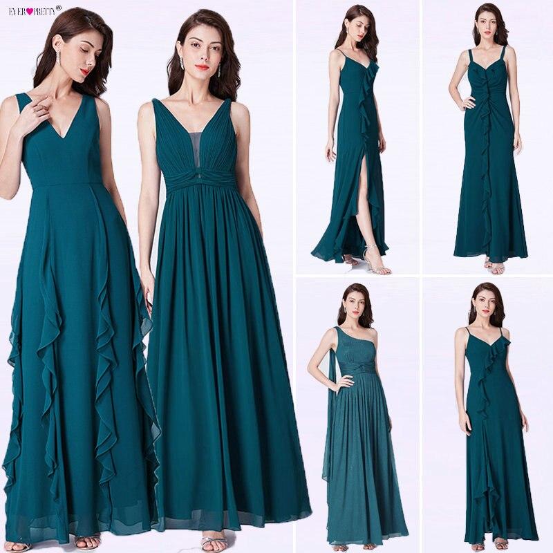 Long   Prom     Dress   2018 Ever Pretty EP07354TE Elegant A Line V Neck Sleeveless Ruffles Evening Party Gowns Vestido De Fiesta Noche