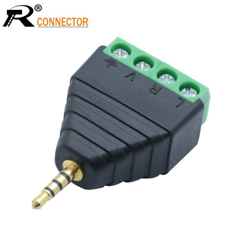 3pcs Video AV Balun 2.5mm 4 Pole Stereo Male To AV Screw Terminal Stereo Jack 2.5 Mm Male 4 Pin Terminal Block Plug Connector