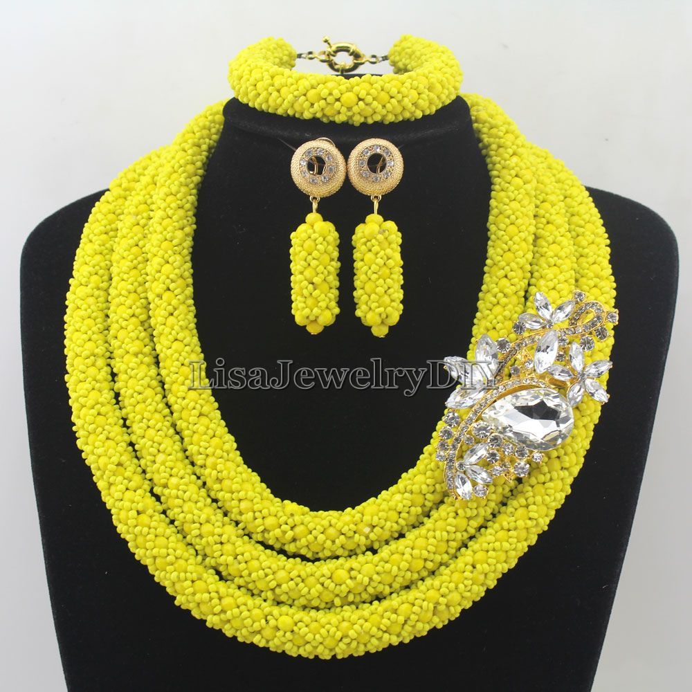 Fashionable African Beads Jewelry Sets Crystal Jewelry Set Nigerian Wedding Necklace Womens Jewellery Set Jewelry Sets HD7294