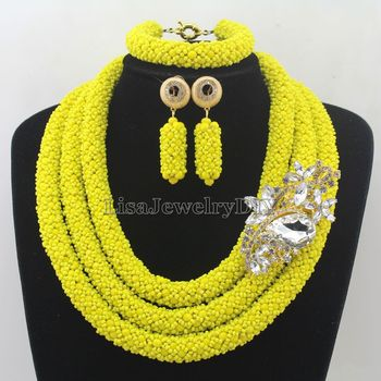 Fashionable African Beads Jewelry Sets Crystal Jewelry Set Nigerian Wedding Necklace Womens Jewellery Set Jewelry Sets HD7294