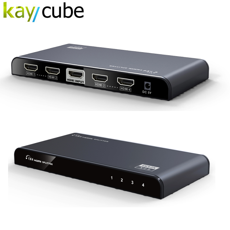 Kaycube Converter 4 Ports 1x4 HDMI Splitter 4K x 2K 3D Distributes 1 HDMI Source To 4 HDMI Displays Simultaneously LKV314-V2.0 3d 4k hdmi devider 2k power splitter