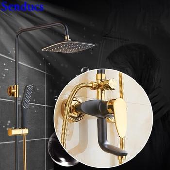 Senducs Intelligent Black Gold Shower Set Single Handle Brass Bathroom Shower Mixer Tap Newly Design Hot Cold Gold Shower Series